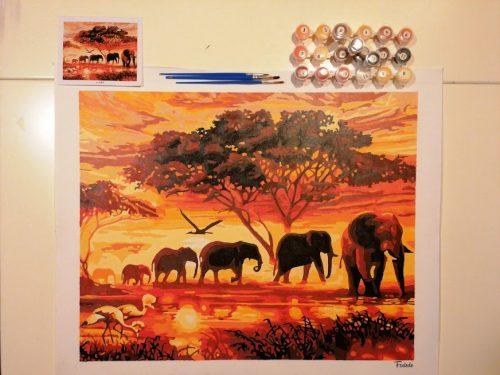Vonuló elefántok felnőtt kifestő