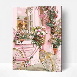 Számozott festő bicikli virágcsokorral