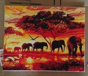 elefántok a naplementében festmény