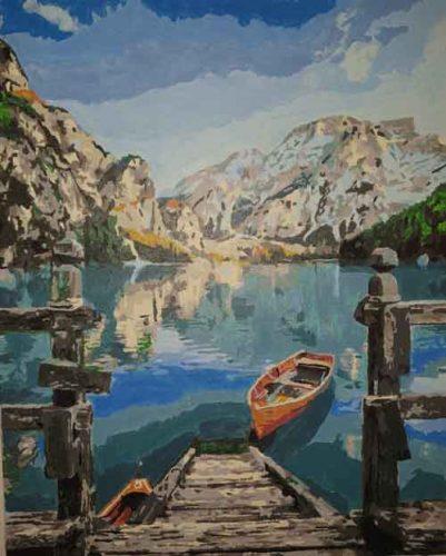 Hegyekben a tó kifestő
